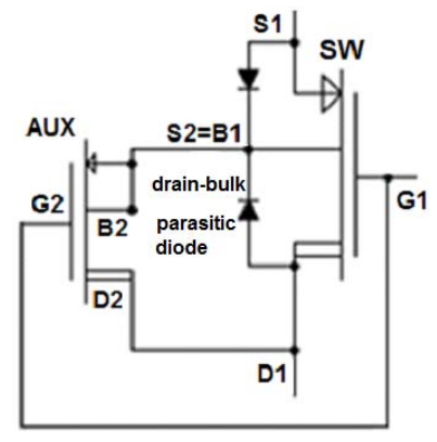 Figure 5. Transistor level design of a switch for high-voltage