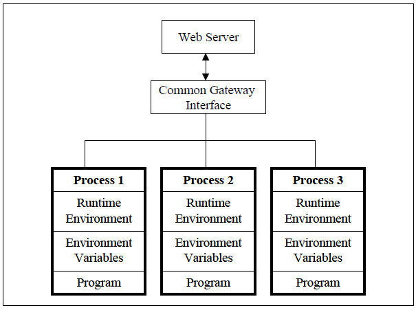 Figure 7. Creation of an Entire New Process for Each Request in CGI (From Ayers 2000)