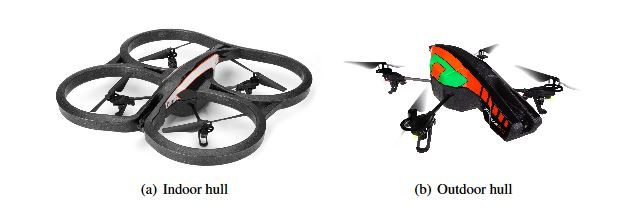 Figure 2.2: AR.Drone 2.0 and its different hull options