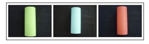 Figure 2.7: Landmark colors made out of A4 cardboard coloured paper; have 40 mm in radius and 210 mm in height [4]