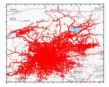 Figure 6. Visualization of the filtered T-Drive dataset (© OpenStreetMap Contributors)