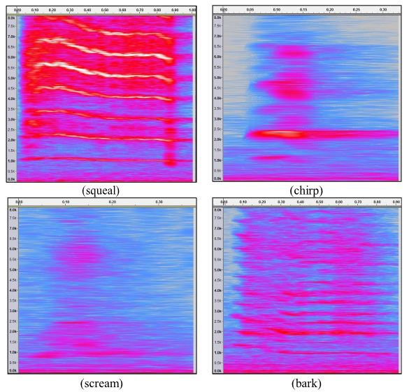 Fig. 1. (Color online) Illustrative spectrograms for the four call categories: (clockwise from top left) squeal; chirp; scream; bark. Horizontal axis indicates time in seconds, and vertical axis indicates frequency in kHz