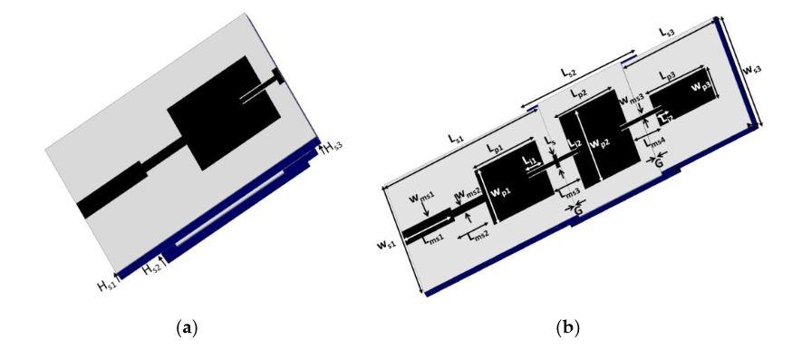 Figure 1. (a) Single antenna mode and (b) Three-antenna-element array mode