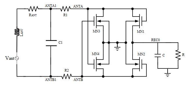 Figure 2. NMOS gate cross-connected bridge rectifier