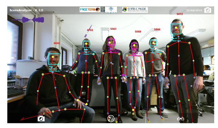 Figure 1. Screenshot of the SA (Scene Analyzer) visualiser in a case of crowded scenario