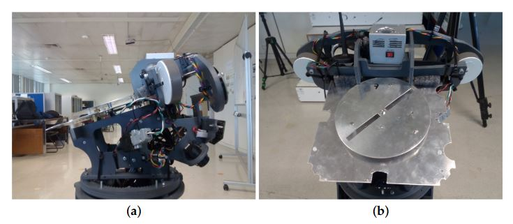 Figure 1. Radio-Frequency Identification (RFID) antenna attached to the head frame of the MOnarCH robot