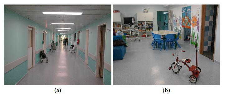 Figure 8. The Instituto Português de Oncologia de Lisboa (IPOLFG) hospital environment. (a) main corridor; (b) playroom